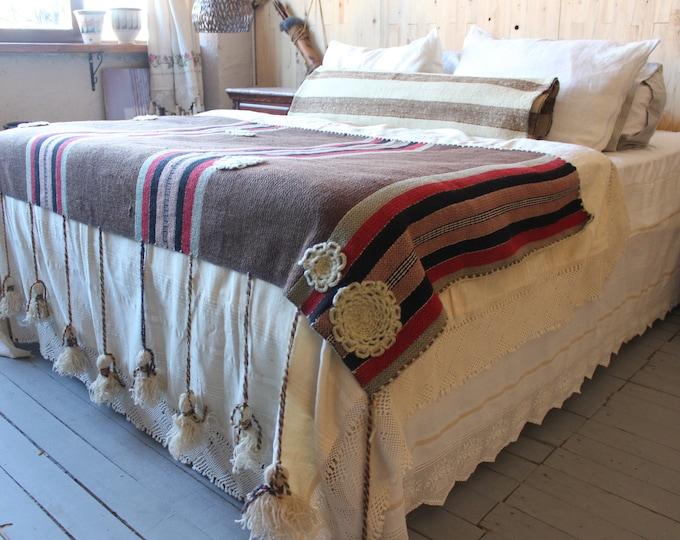 Bohemian Brown Wool Vintage Throw Ethnic tribal Fringed Throw