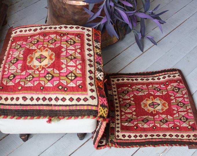 Vintage Kilim Saddlebag, Ethnic Tribal Nomadic Kilim Saddlebag,Turkish Anatolian Handwoven Kilim Saddlebag