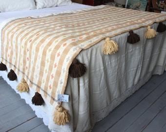35x90 inch Ethnic Throw, Bohemian Throw, Vintage Kilim Throw, Handwoven Wool Throw
