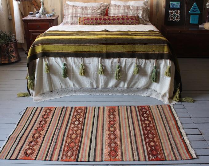 """2'8""""x4'9"""" Vintage Small Kilim,Bohemian Striped Kilim Rug,Ethnic,Tribal Kilim,Small kilim,Handwoven Wool Kilim"""