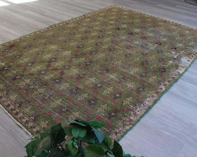"Green-Pink Rug, Vintage Green Rug, Bohemian Rug, vintage turkish rug, large vintage rug, handwoven rug / B-1242 / 5'2""x7'8"" feet"