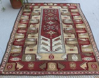 "4'2""x6'2"" ft  Vintage Rug, Vintage MILAS Rug, Ethnic Anatolian Rug, Terracotta-Beige Bohemian Rug,Decorative Turkish Rug,Vintage Turkish Rug"
