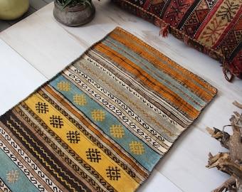 """2'0""""x4'.2""""ft  Vintage Kilim Sack, Ethnic Tribal Nomadic Kilim Sack, Bohemian Floor Pillow,Vintage Kilim Chuval"""