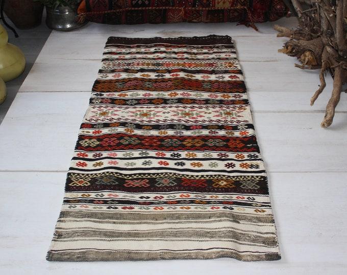"2'1""x4'5""ft Vintage Kilim Sack, Ethnic Tribal Nomadic Kilim Chuval,Handwoven Wool Kilim Floor Pillow, Bohemian Kilim Pillow"