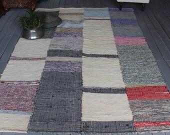 "4'8""x7'4"" ft  Vintage Rag Rug, Handmade Rag Rug, Ethnic Rag Rug, Turkish Chaput Kilim , Anatolian Rag Rug, Decorative Rag  Rug"