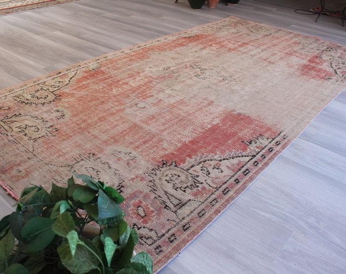 """Vintage Distressed Rug, Ethnic Pale Rug,  Mute Coloured Rug, Pale Red Rug, Vintage Oushak  Rug / B-1253 / 5'x9'8"""" feet"""