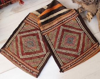 """1'5""""x4'8"""" ft Vintage KILIM SADDLEBAG ,Ethnic Nomadic Handwoven Saddlebag,Decorative Kilim Saddlebag"""