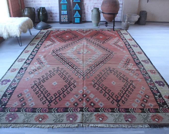 "8'2""x11'8"" ft Vintage Large Kilim, Vintage SARKOY Kilim, Special Anatolian Kilim , Large Antique Kilim,  Vintage Anatolian Kilim A"