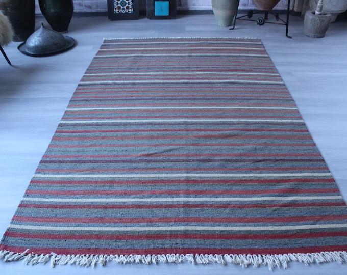 "4'7""x7'6"" ft Vintage Striped Kilim, Striped Kilim Rug, Ethnic Area Kilim, Vintage Wool Kilim, Bohemian Kilim Rug, Anatolian Kilim Rug"