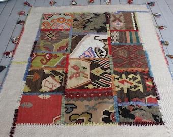 "3'6""x5'0"" ft    Patchwork KILIM rug, Bohemian Ethnic Handmade Wool Kilim Rug"