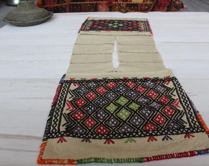 """1'4""""x3'9"""" Vintage KILIM  Saddlebag,Ethnic Turkish Bohemian Kilim Heybe-Saddlebag,Kilim Storagebag"""