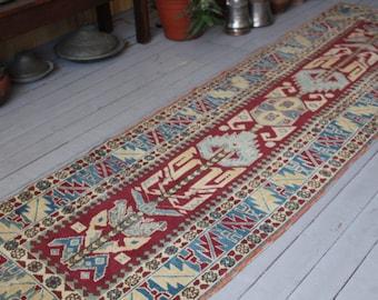 Vintage RUNNER Rug, Turkish Handwoven Wool Hallway Carpet Runner