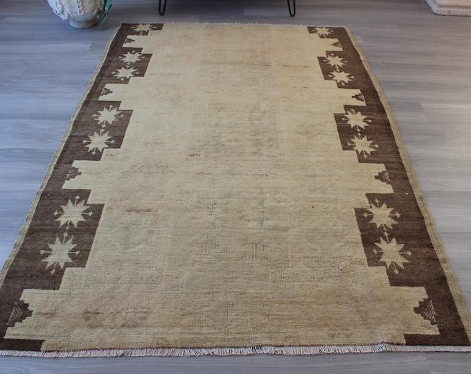 "Vintage Kars Rug, Ethnic Beige Rug, Vintage Beige Rug, Bohemian Rug , Decorative Rug, Piled Wool Rug / 4'5""x6'6"" feet / V-1246"