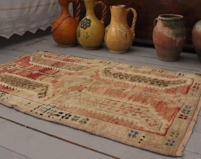 "1'8""x2'9"" Vintage Turkish Handwoven Wool Small Rug,Ethnic,Tribal,Handmade Door Mat"