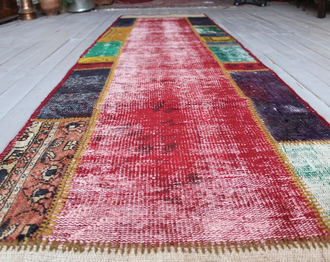 "2'6""x9'6"" feet PATCHWORK Runner Rug, Coloured Handmade Hallway Carpet, Red Patchwork Rug Runner"