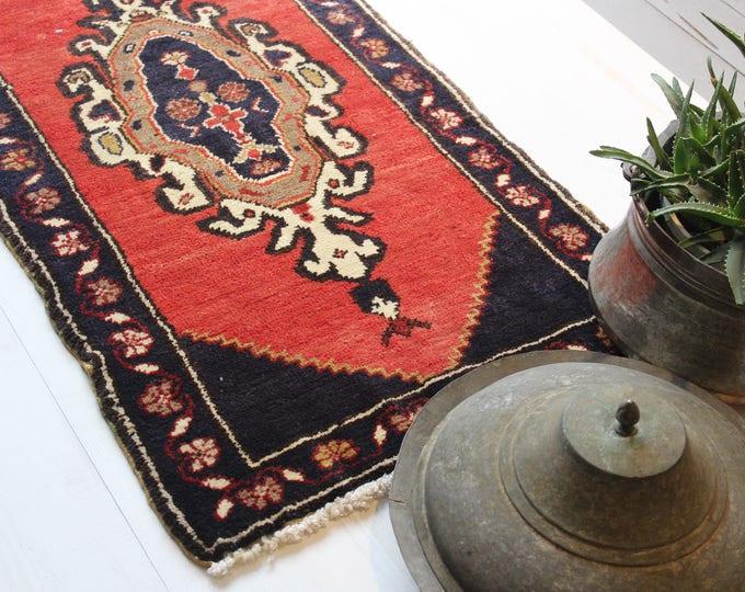 "1'7""x3'6"" Tribal Small Rug,Vintage Turkish Rug,Ethnic Door Mat,Bohemian Style Small Handwoven Wool Rug"