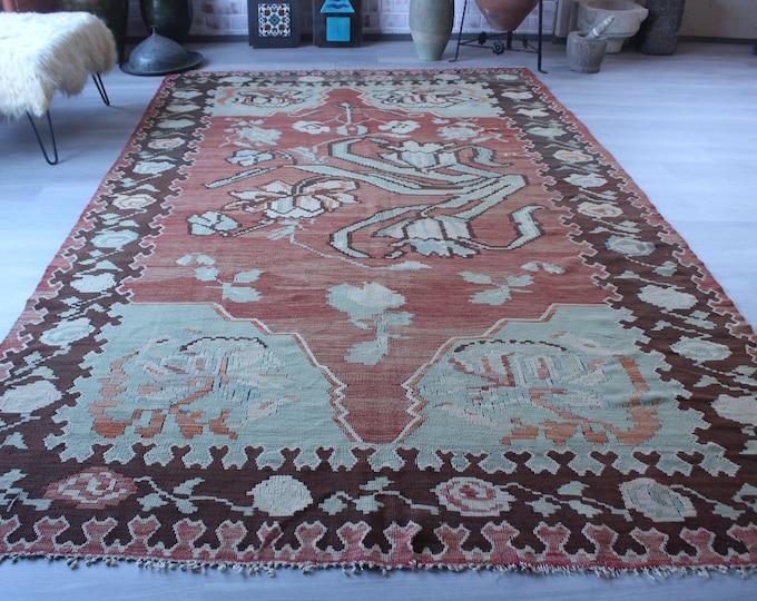 """7'3""""x11'4"""" ft  Large Vintage Kilim, Large Area Kilim, Large Turkish Kilim, Large Anatolian Kilim, Vintage Turkish Kilim"""