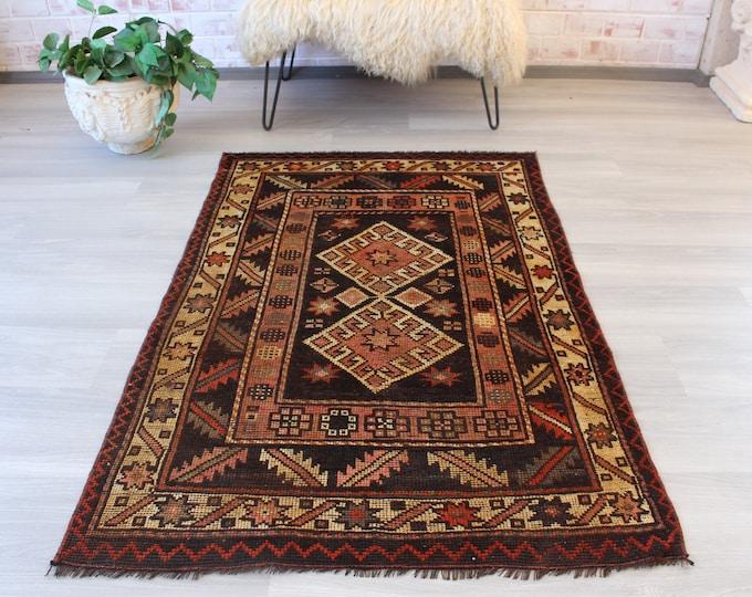 "3'3""x5' ft , Small Vintage Rug , Ethnic Turkish Rug, Boho Decoration, handwoven rug,vintage area rug / B-1239"