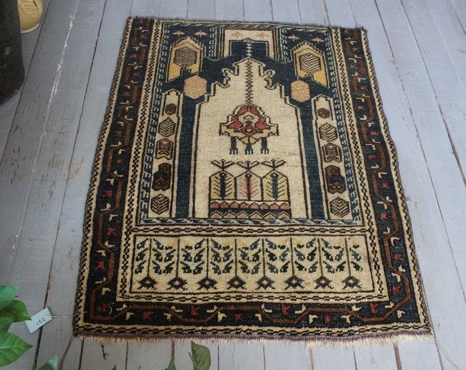 """2'5""""x3'3"""" ft  Vintage Rug, Vintage Anatolian Rug, Blue-Beige Rug, Ethnic Design Rug, Traditional Turkish Rug, Vintage Konya Rug"""