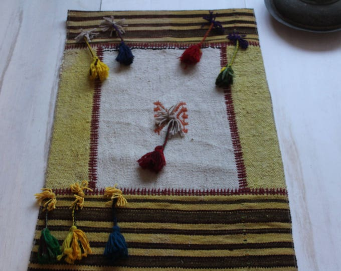 "2'0""x3'2"" Bohemian Patchwork Wall Hanging,Ethnic Wall Hanging,Handmade Wool Hanging"