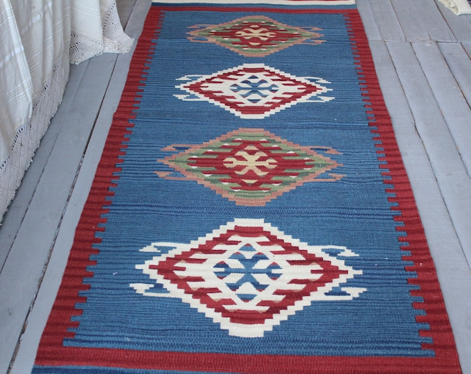 "2'7""x6'7""feet  Vintage Kilim Runner Rug, Ethnic Kilim Throw, Bohemian Blue Kilim Runner, Aztec Kilim Runner, Aztec Rug"