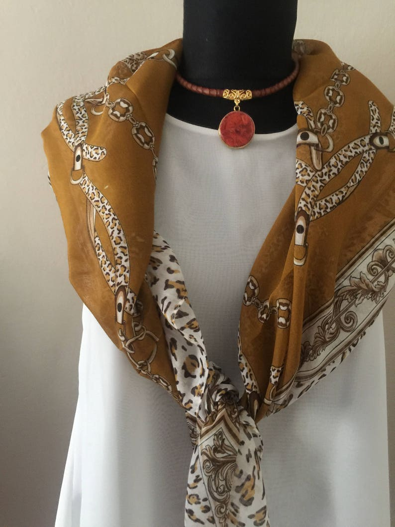 Agate Pendant Necklace Gemstone Necklace,Leather necklace Brown Leather Choker