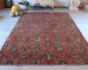 Vintage Rug, Vintage Oushak Rug, Red Floral Rug, Vintage Floral Rug,Traditional Turkish Rug / B-1261