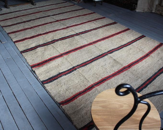 "6'5""x12'7"" HEMP Kilim Rug, Vintage Red Striped HEMP Kilim Rug , Ethnic Hemp Kilim , Bohemian Hemp Kilim"