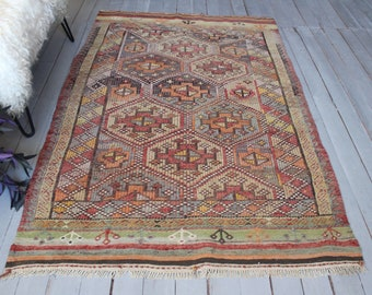 "3'8""x6'2"" ft  Vintage Ethnic Kilim, Bohemian Kilim Rug, Turkish Anatolian Kilim Rug, Decorative Kilim Rug"