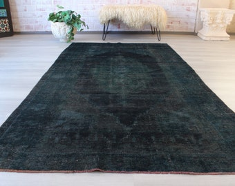 "Vintage Rug , Dark Pine Green Rug, Over dyed Anatolian Rug , Green Turkish Rug,Handwoven Green Rug / B-1255 / 4'2""X7'9"" feet"