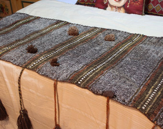 One-Of-A-Kind Ethnic Wool Throw, Bohemian Blanket,Brown Artisan Handmade Throw,Wool T extile