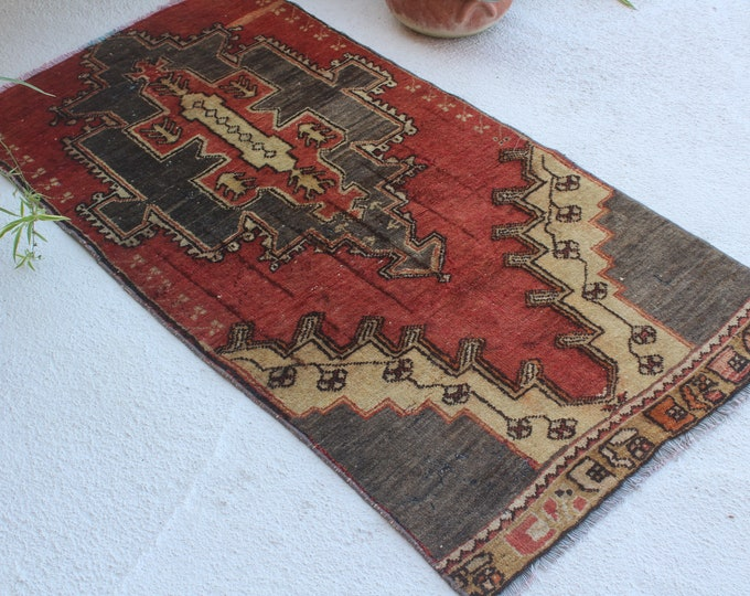"2'5""x5' ft  Vintage Rug, Vintage Turkish Rug, Ethnic Red-Blue Rug, Decorative Anatolian Rug, Piled Wool Rug, Bohemian Rug, Handwoven Rug"