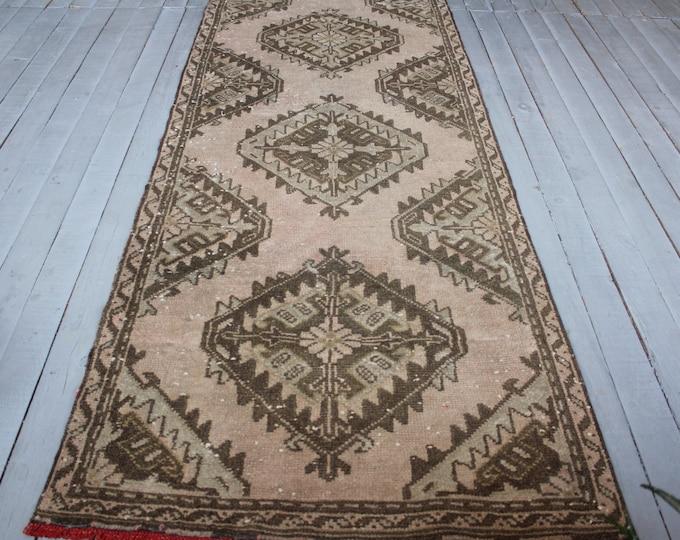 Vintage  Pale Pink Oushak Runner Rug, Ethnic Tribal Brown -PInk Distressed Low Piled Rug Runner, Turkish Hallway Carpet