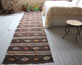 """3'0""""x11'8"""" Brown Vintage Kilim Runner Rug,Bohemian Turkish Wool Handmade Kilim Kelim Runner"""