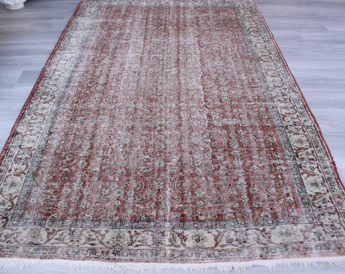 Vintage Oushak Rug, Large Area Rug, Large Turkish Rug, Large Anatolian Rug, Terra Cotta Colour Rug