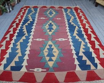 """6'2""""x8'8"""" Turkish Handwoven Area Kilim,Bohemian Ethnic Kilim , Wool Turkish Geometric Kilim Rug"""