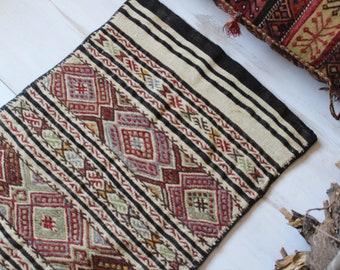 "2'3""x4'6"" ft Vintage Kilim Sack, Ethnic Nomadic Bohemian Handwoven Kilim Sack, Handwoven Wool Floor Pillow"