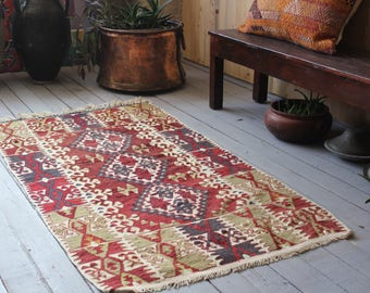 Vintage Small Kilim, Bohemian Ethnic Handwoven Wool Kilim