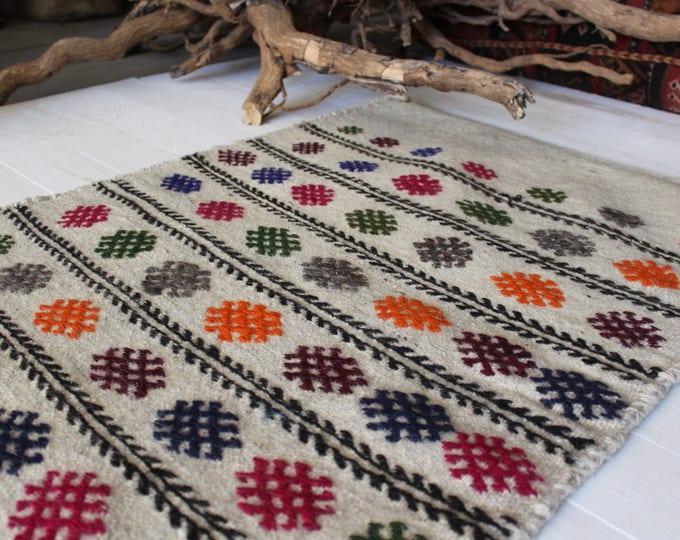 "1'9""x3'2"" Vintage Ethnic Kilim Sack,Handwoven Kilim Sack,Handmade Wool Kilim Sack,Vintage Kilim Storage Bag"