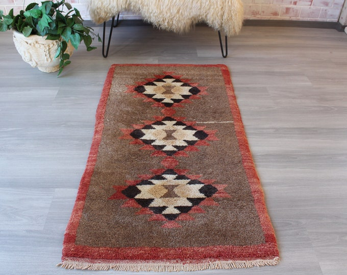 Small TULU Rug, Piled Turkish Rug , Ethnic Rug, Ethnic Wool Rug, Anatolian Rug, Small Vintage Rug / B-1223 /