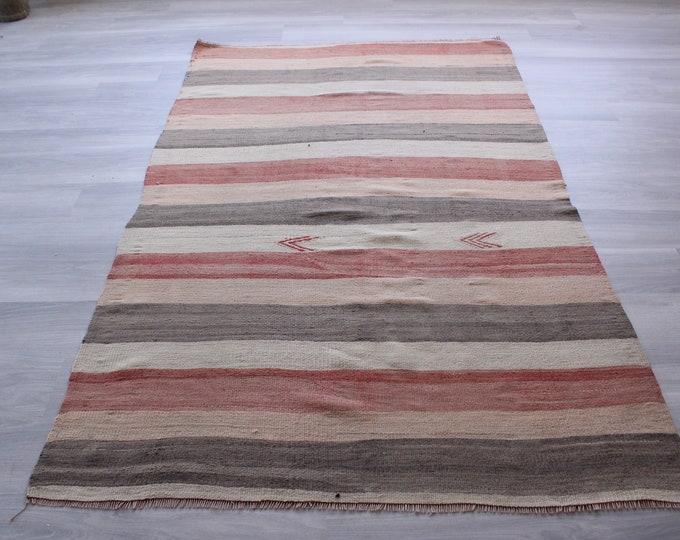 "4'7""x7'6"" ft  Vintage Striped Kilim,  Coral-Beige-Gray Coloured Kilim, Ethnic Kilim, Bohemian Kilim, Vintage Turkish Kilim"