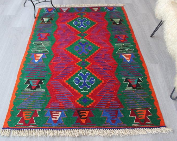 "3'8""x5'6"" ft Vintage Kilim, Turkish Wool Kilim, Ethnic Area Kilim, Bohemian Kilim, Dark Teal Green Kilim, Anatolian Kilim Rug"