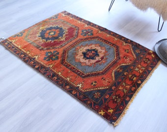 """3'4""""x5' ft  Vintage Anatolian Rug, Small Vintage Rug, Small Turkish Rug, Small Area Rug, Ethnic Rug, Bohemian Red Rug,"""