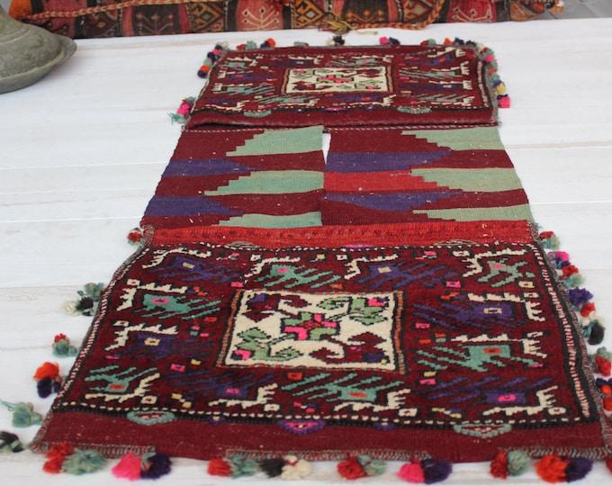 "1'6""x3'7"" Vintage Handwoven Wool Rug Saddlebag,Ethnic Turkish Antique Rug Saddlebag"