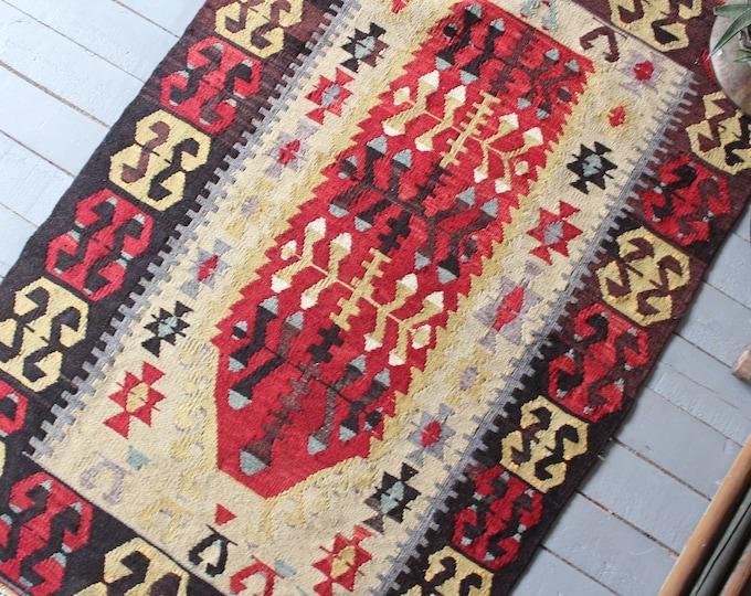 "2'8""x4'5"" ft Vintage Turkish Kilim Rug, Bohemian Kilim, Ethnic Kilim Rug, Anatolian Kilim Rug"