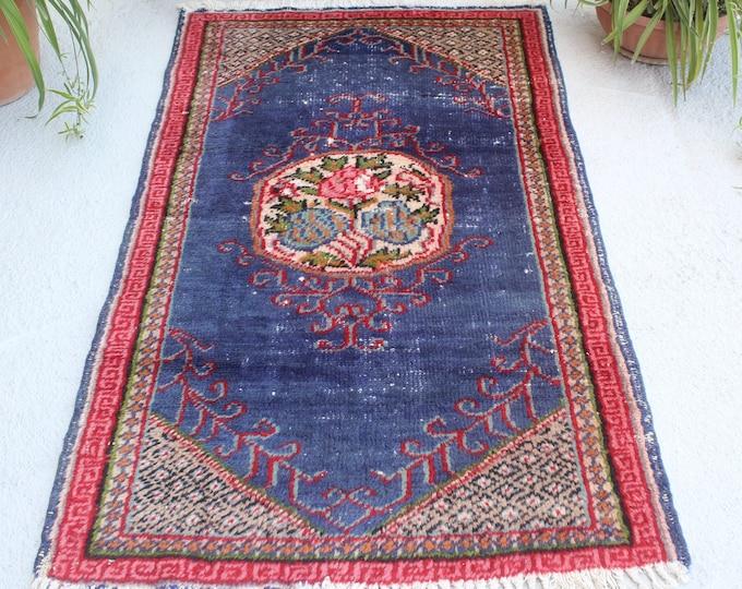 "2'7""x5'6"" ft Vintage Rug, Vintage Anatolian Rug, Vintage Turkish Rug, Blue-Red Rug, Floral Design Turkish Rug, Ethnic Rug, Small Area Rug"