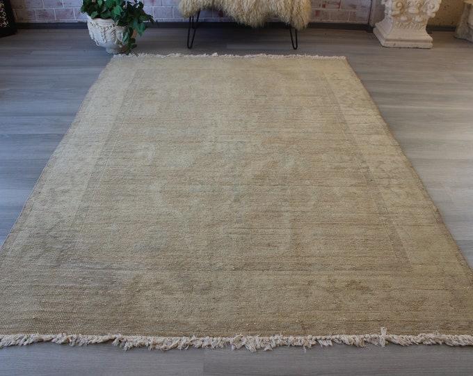 Neutral Wool Rug, Vintage Oushak Rug, Pale Coloured Turkish Rug , Vintage Beige Rug , Large Beige Rug /