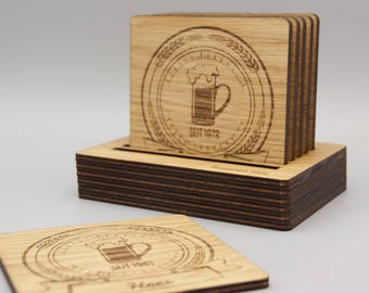 Wood coasters (Stammtisch) 6 PCs. with engraving