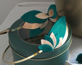 Leather petals, green and gold headband