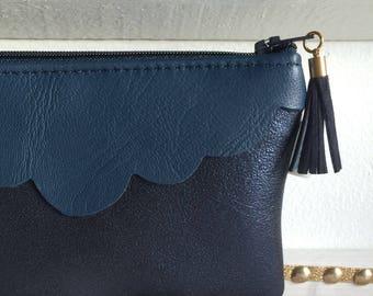 Blue leather clutch/makeup case